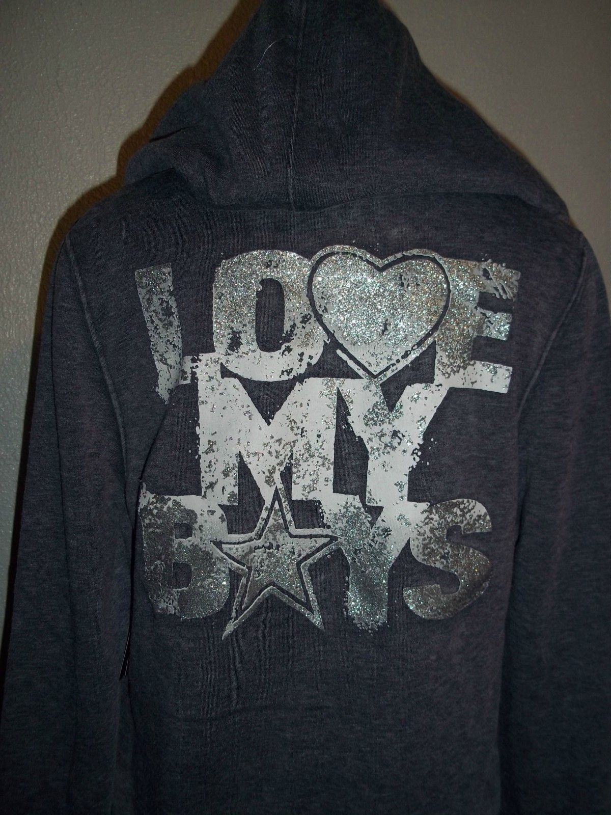 76826f4ed WOMENS DALLAS COWBOYS HOODIE LARGE NFL JERSEY GLITTER ZIP NEW    LOVE MY  BOYS