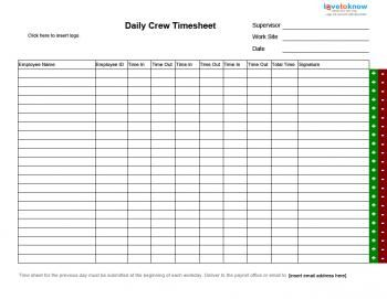 Daily Group Timesheet  Crew Timesheets    Group And