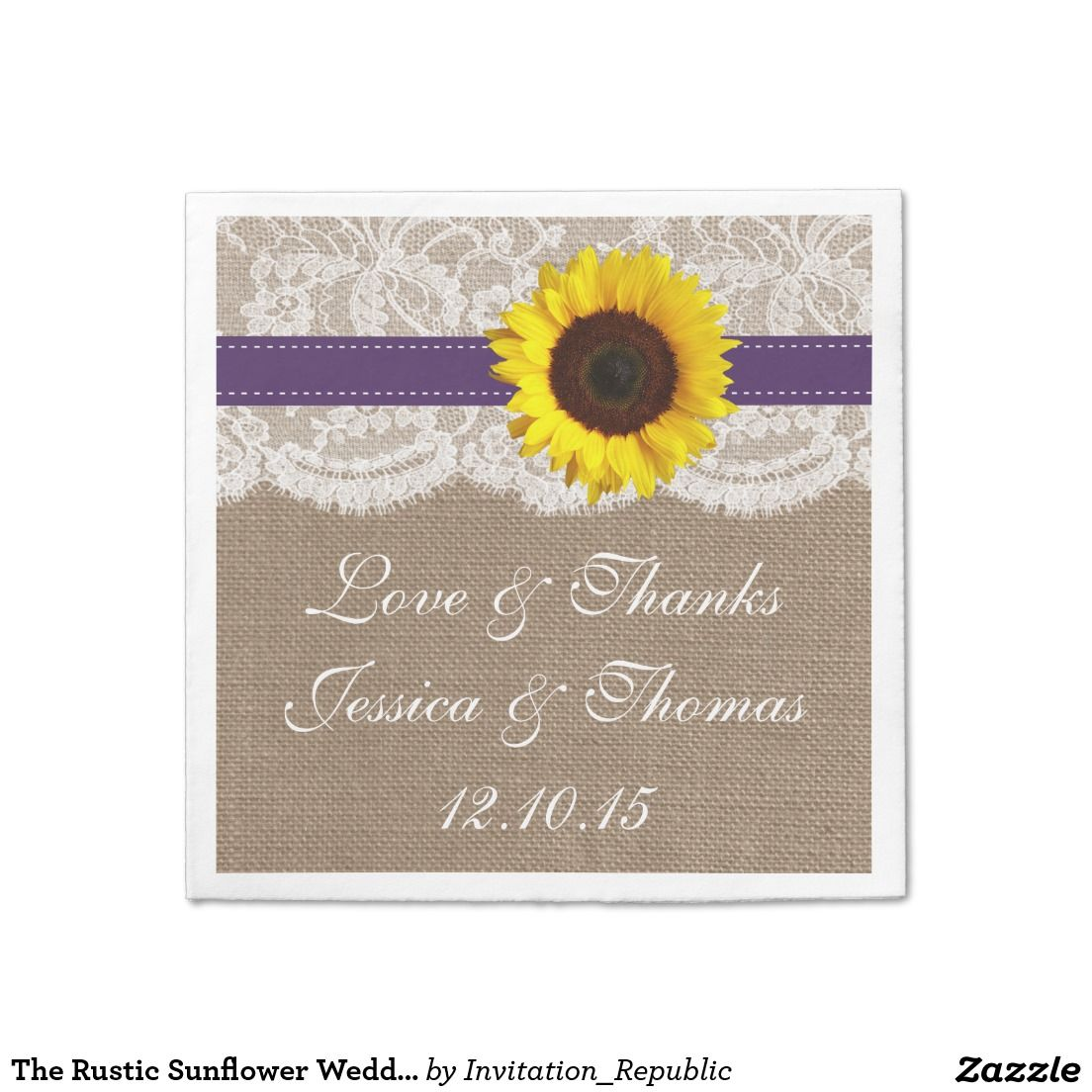 The Rustic Sunflower Wedding Collection Purple Paper Napkin