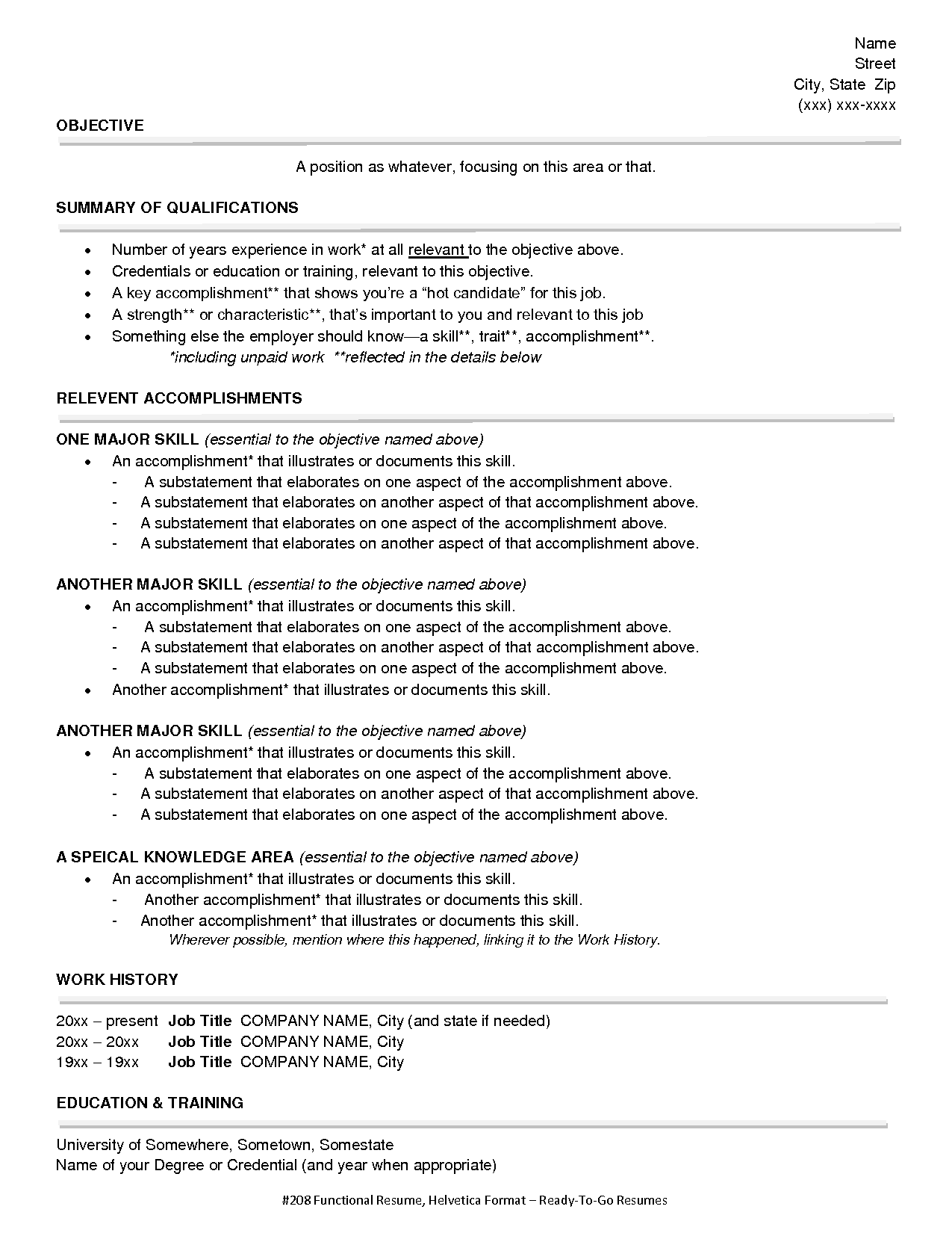Functional Style Resume Sample | Functional Resume Style 1.doc ...