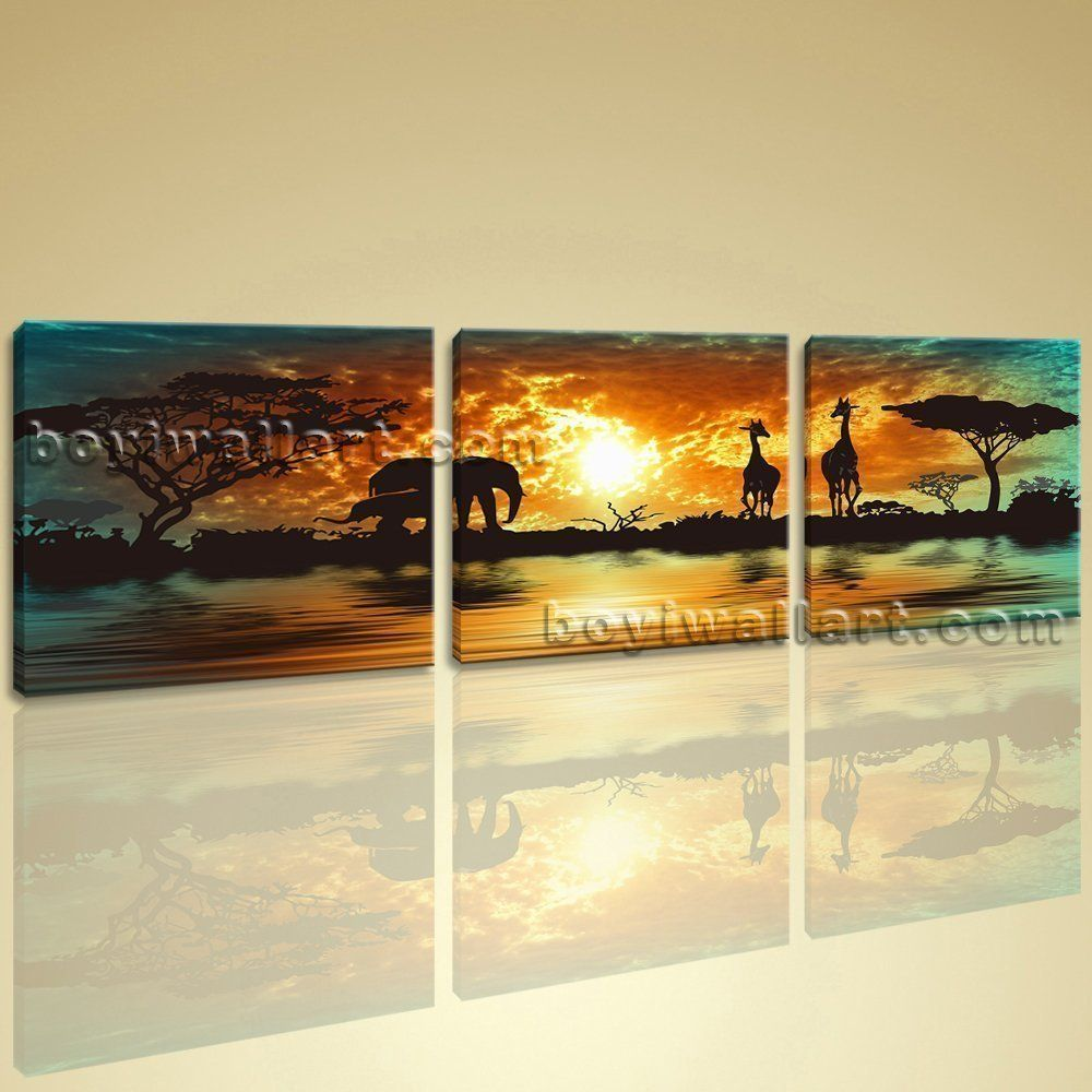 Huge Canvas Print HD Africa Landscape Tree Elephant Sunset Glow Wall ...