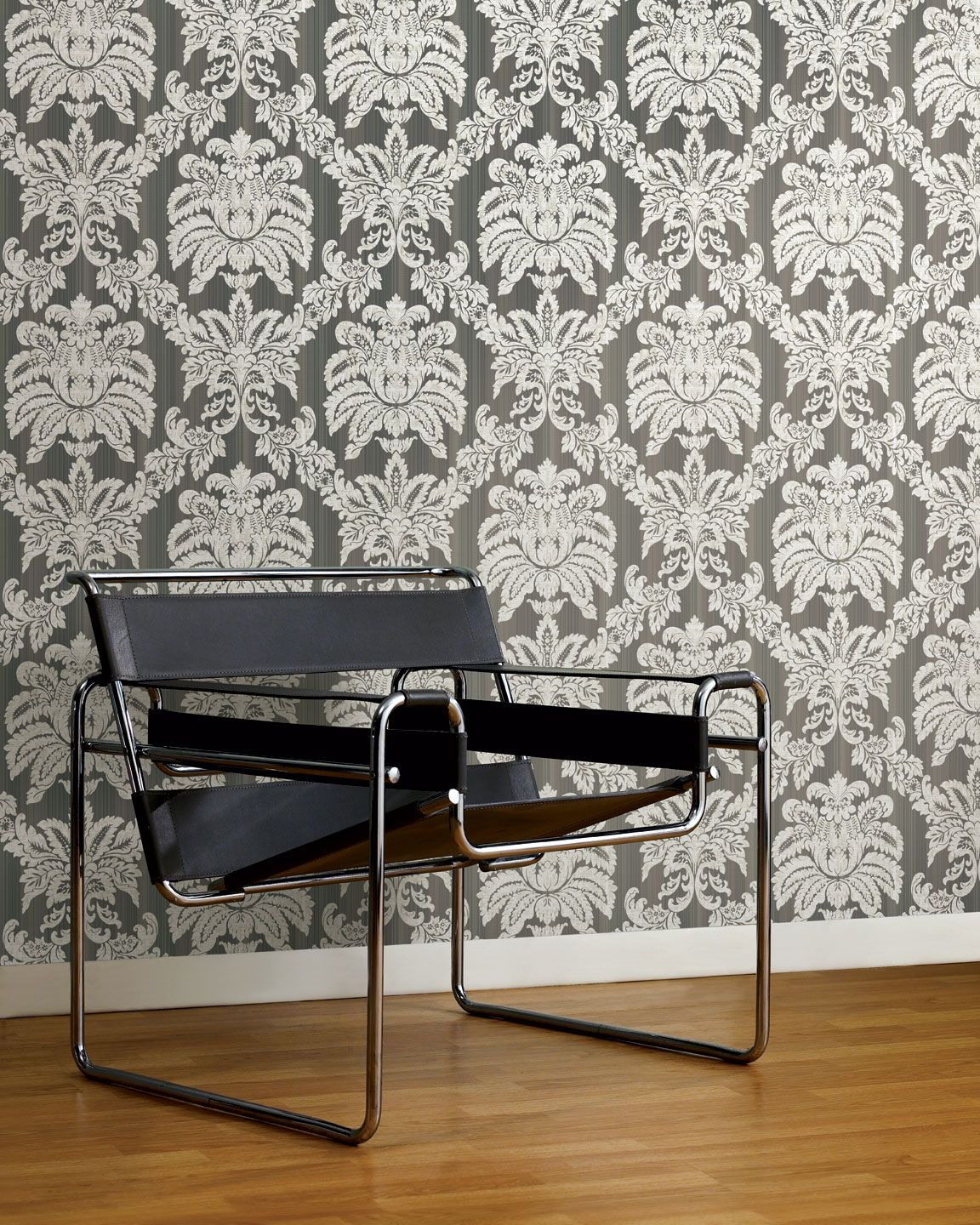 Damask lounge chair - Blend A Classic Damask Wallpaper With A Retro Chair Like The Wassily Lounge Chair For An
