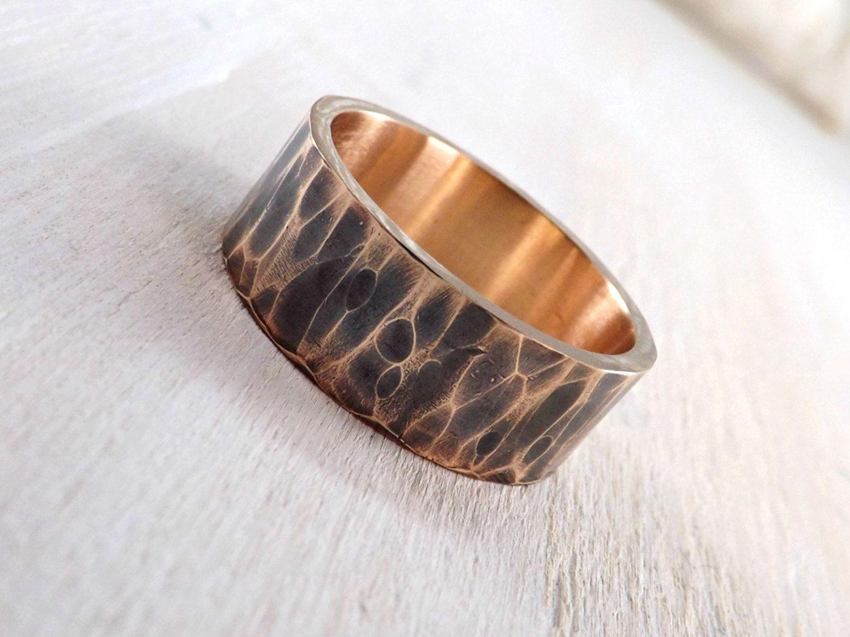 Men's ring bronze hammered bronze ring cool mens ring