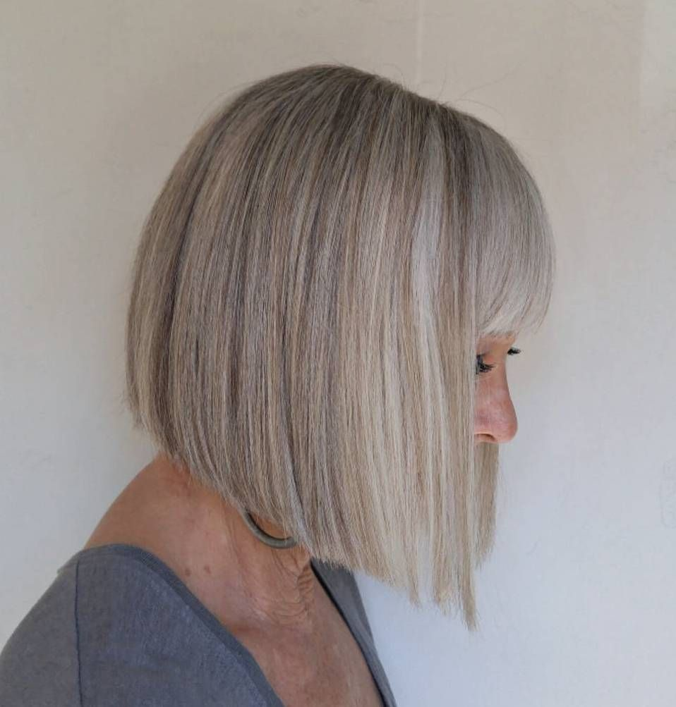 Over blunt angled bob with bangs new pinterest gray hair women