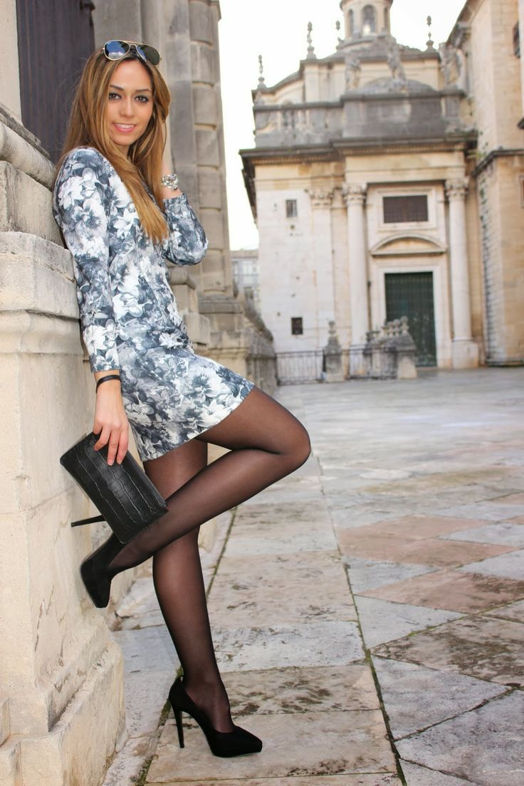 Women wearing dresses with pantyhose this girls