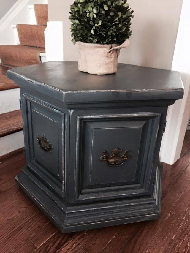 Hexagonal End Table with Storage Solid Wood Slate Chalk Paint