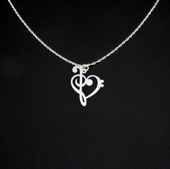 Music note necklace bass clef necklace treble clef necklace this listing is for a sterling silver pendantnecklace a combination of the bass aloadofball Choice Image
