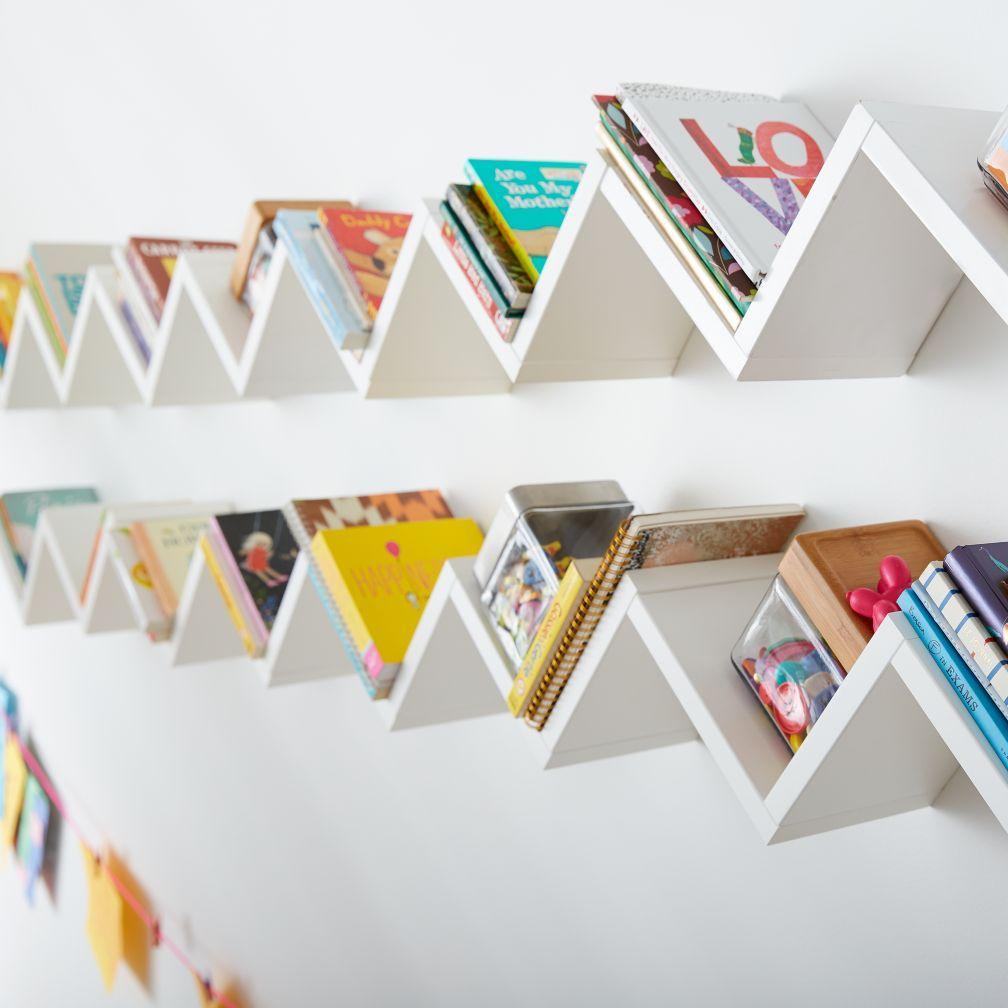 Origami wall shelf white the land of nod boy room shelving origami wall shelf jeuxipadfo Choice Image