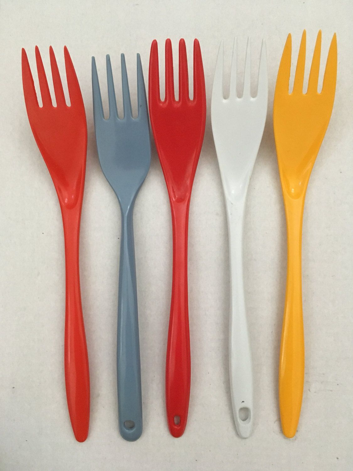 Vintage Melamine Kitchen Cooking Utensils Fork Set Of 5 By