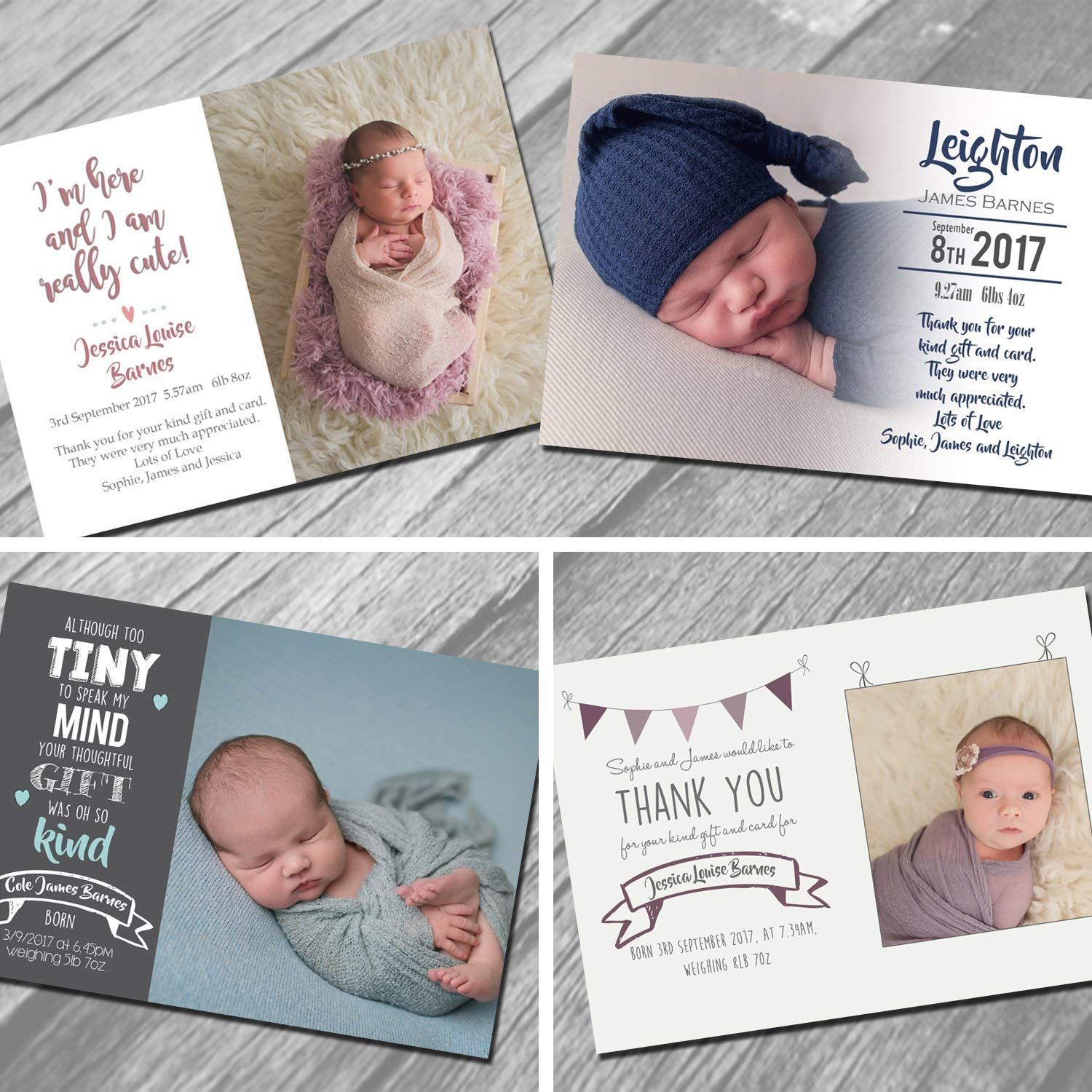 new baby thank you cards with own photo and text  new