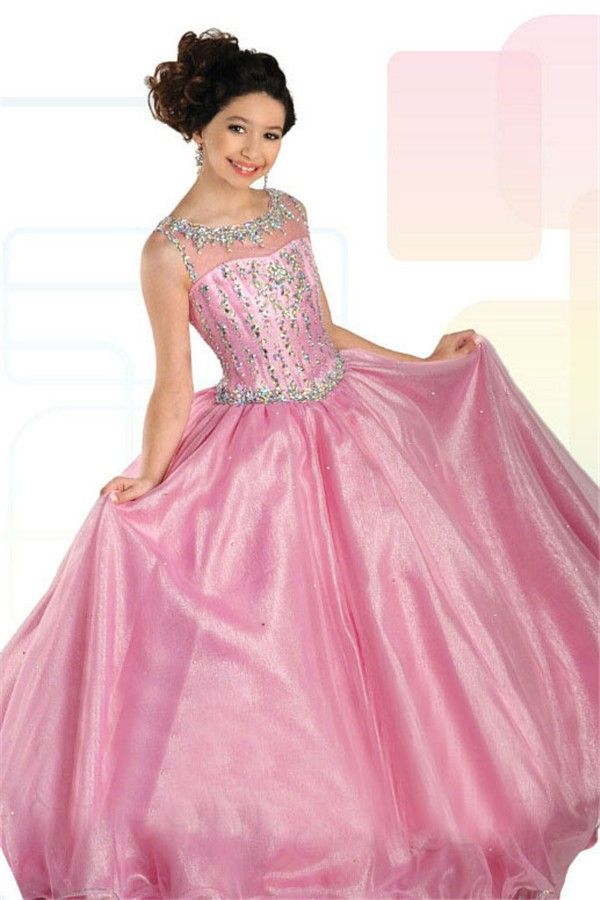 Ball Gown Sleeveless Open Back Pink Organza Beaded Girl Pageant Prom ...