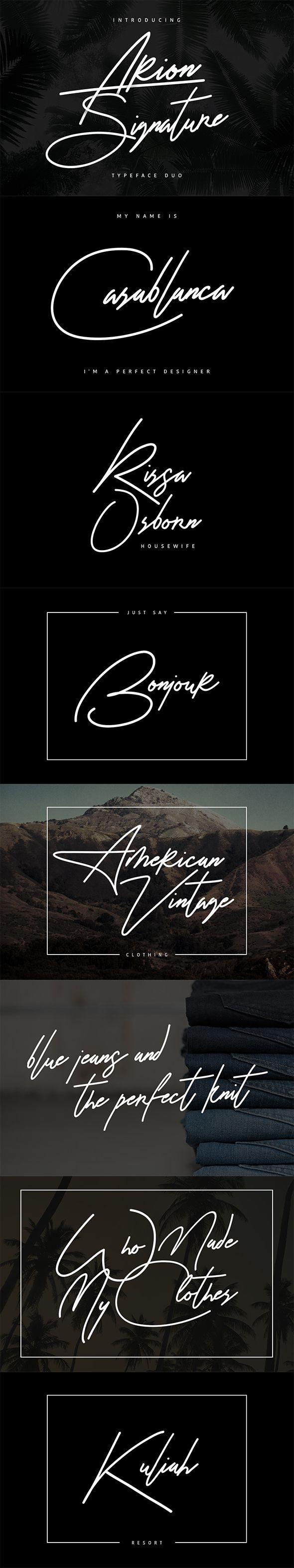 Arion Signature Typeface - Calligraphy Script Download here: https://graphicriver.net/item/arion-signature-typeface/19538564?ref=alena994