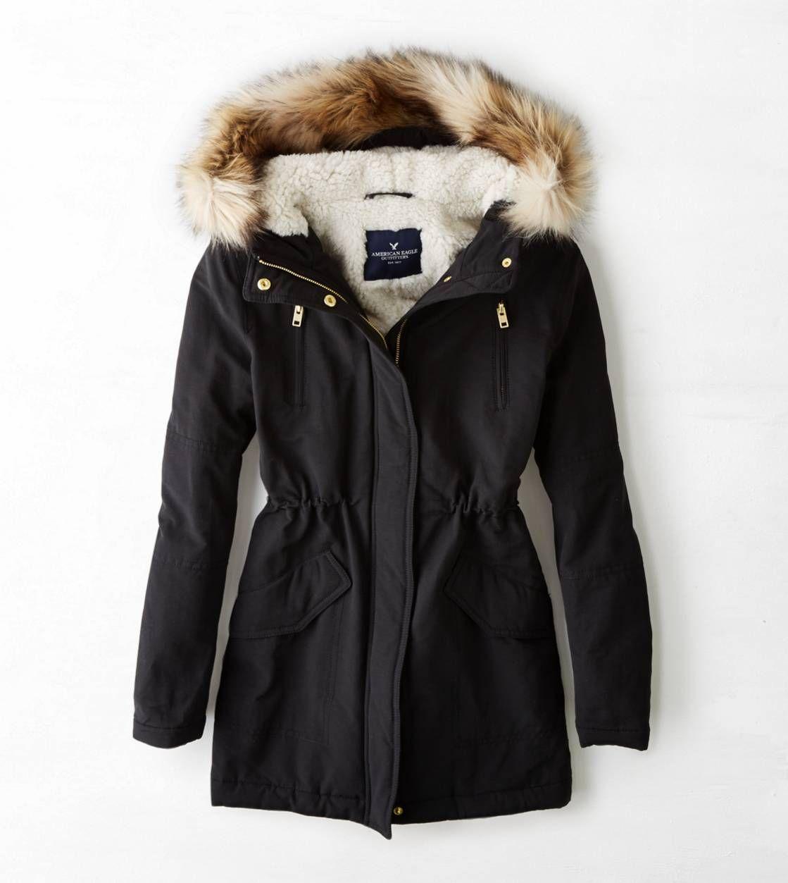 Aeo Cinched Surplus Parka True Black American Eagle Outfitters Black Winter Jacket Black Winter Coat Winter Jackets [ 1253 x 1119 Pixel ]