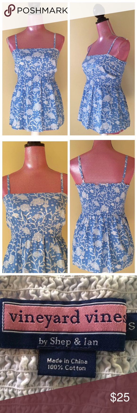 "Vineyard Vines Mosaic Fish Top Size small - approx. measurements laying flat - 14"" W across chest (stretches to 16"") - 23"" L shoulder to hemline 100% cotton - medium blue with Mosaic fish and seaweed print  Adjustable spaghetti straps - stretch smocking across upper back and around waist Excellent pre-owned condition with no stains, tears or odors Vineyard Vines Tops"