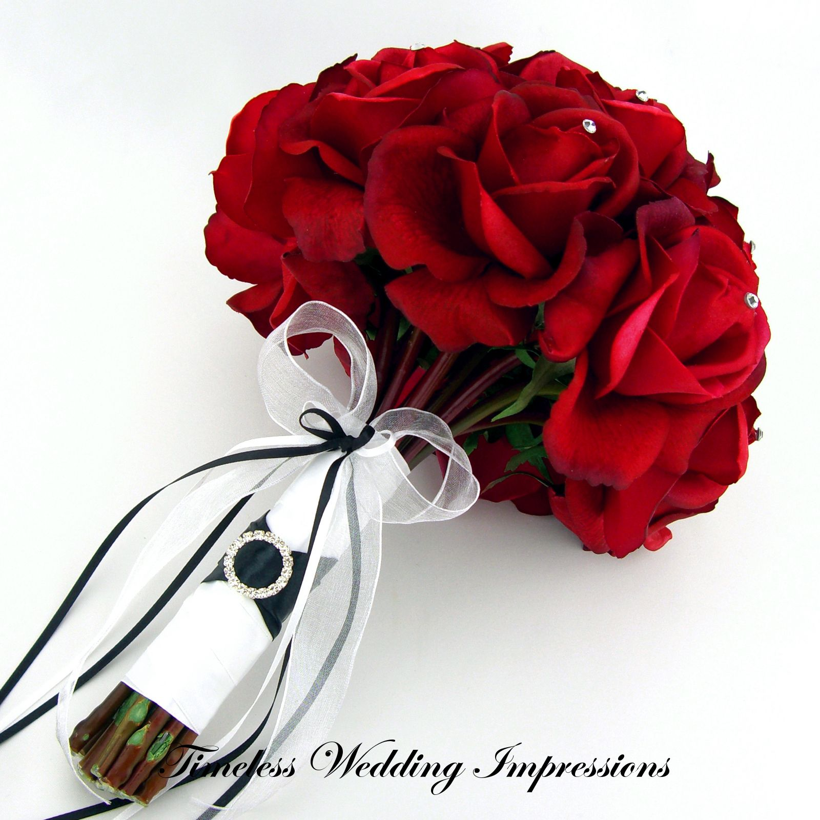 Items Similar To Red Rose Bridal Bouquet Swarovski Wedding Real Touch Flowers On Etsy