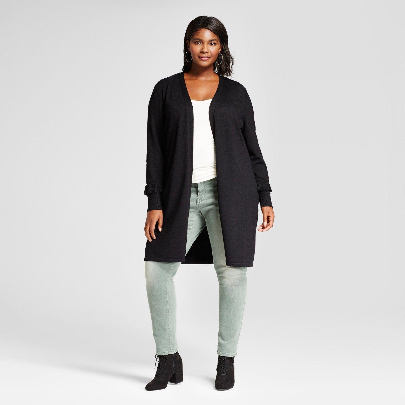 Women's Plus Size Long Sleeve Ruffled Sleeve Duster Cardigan ...