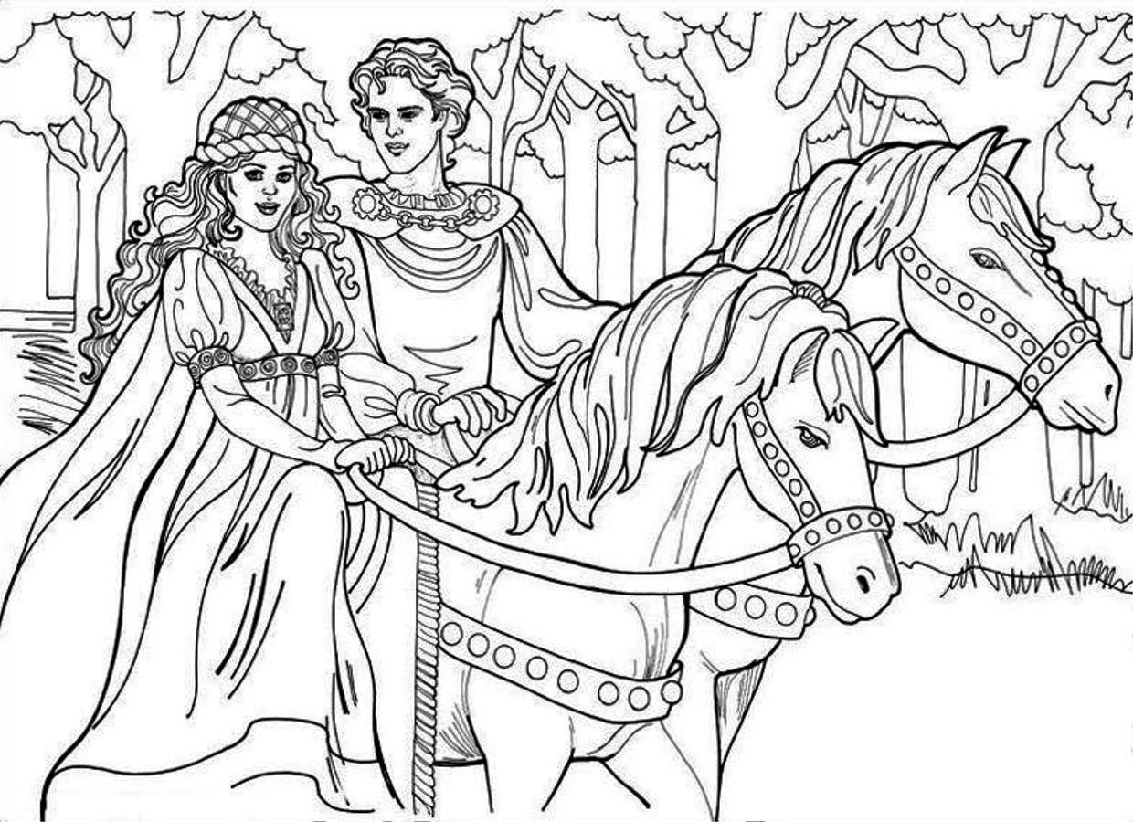 12 Images Of Princess And Horse Coloring Pages