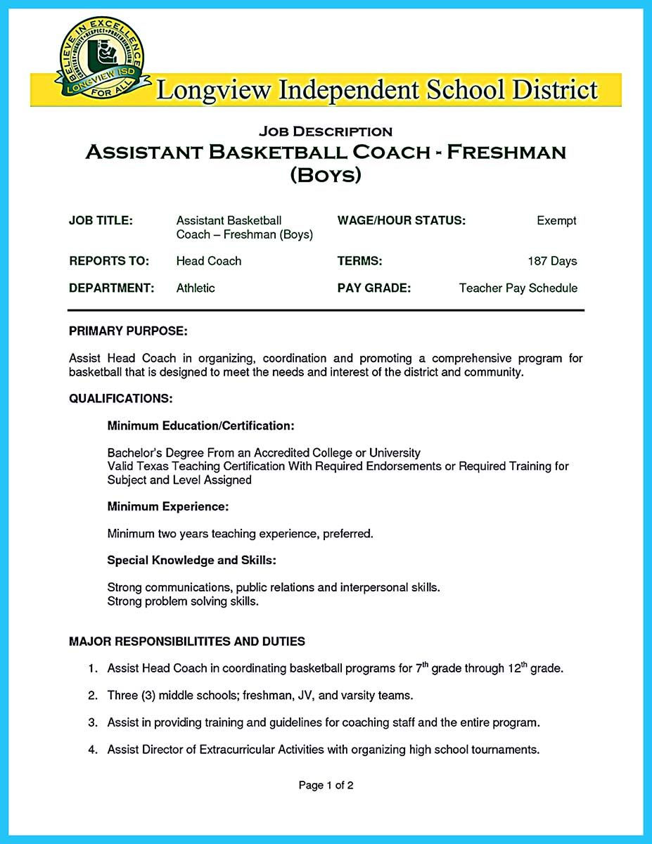 Elegant When You Write Your Resume, Especially A Resume For A Basketball Coach Job,  You Shouldnu0027t Write It At The Same Way With The Manager Resume Your Frie...  ...