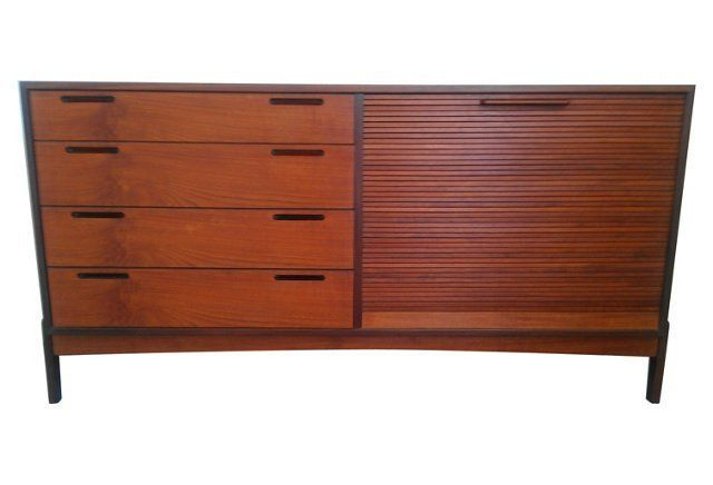 Mid-Century Modern Credenza  by architect William Watting. Roll up tambour door revealing felt lined drawers. Teak cabinet on what appears to be a rosewood base.