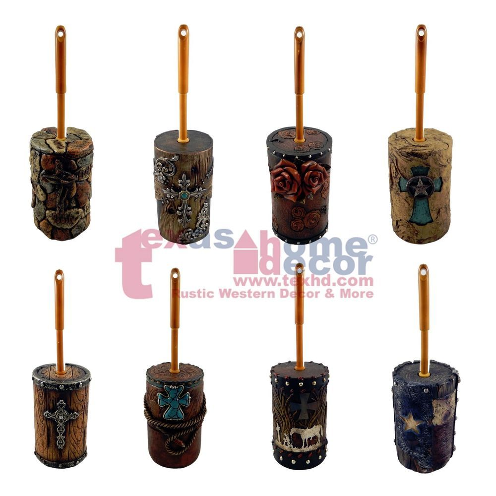 Western Toilet Brush Holder With Brush Assorted Styles Rustic Cross ...