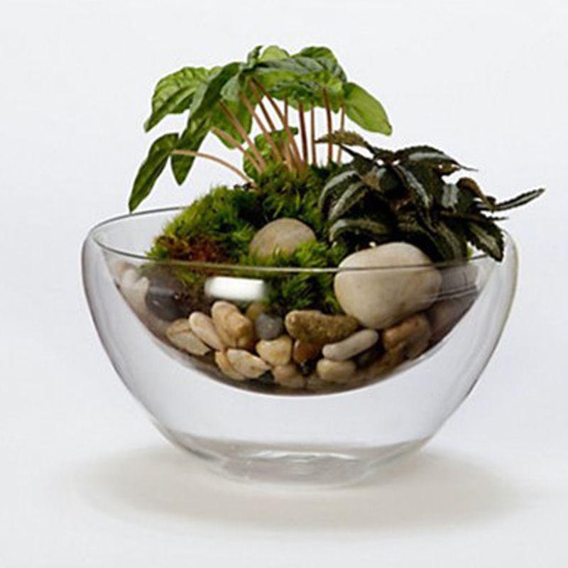 Water Bowl Decoration Flower Pot Hydroponic Plants Vase Water Wax Transparent Double