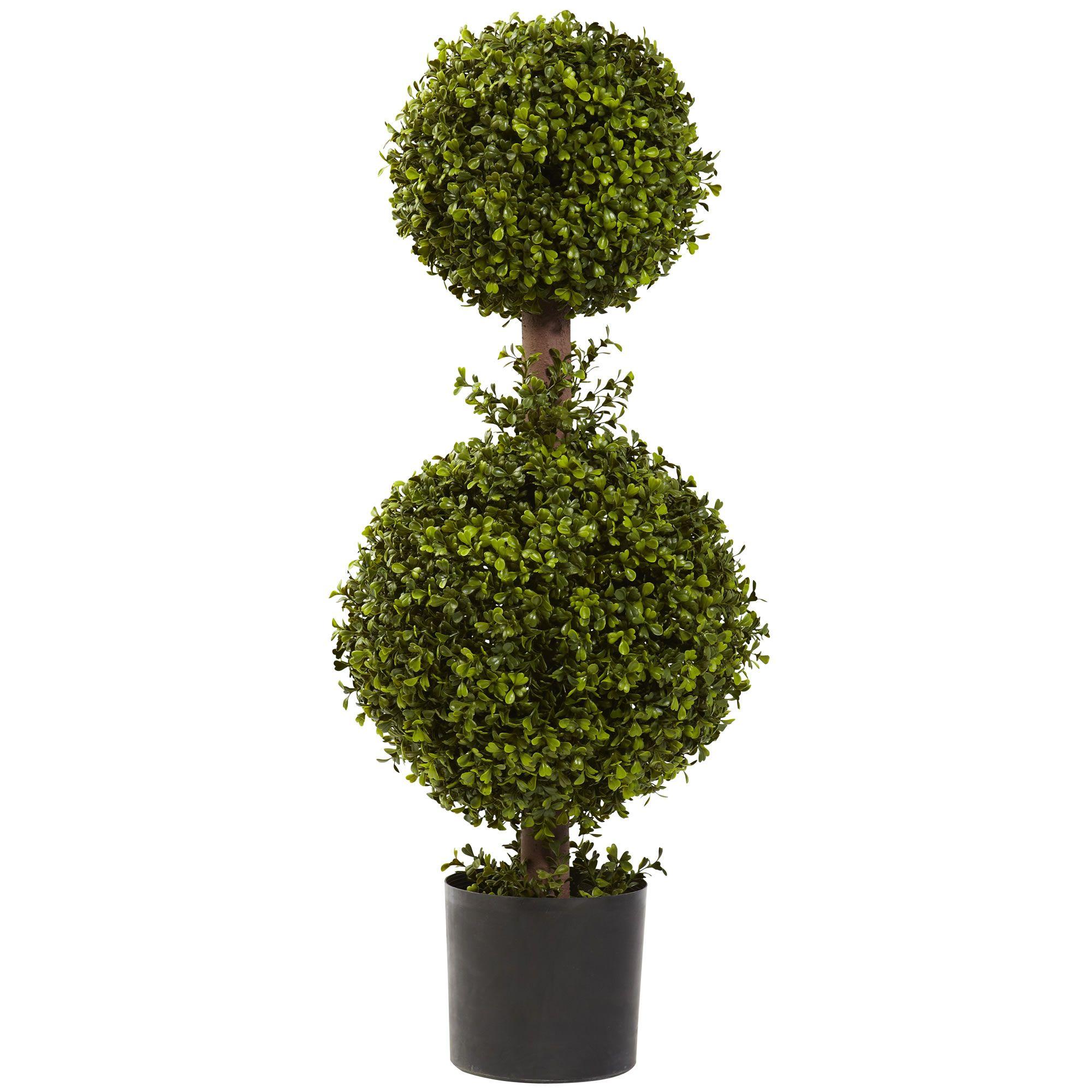 "David Shaw Silverware NA LTD 35"" Double Boxwood Topiary, Green"