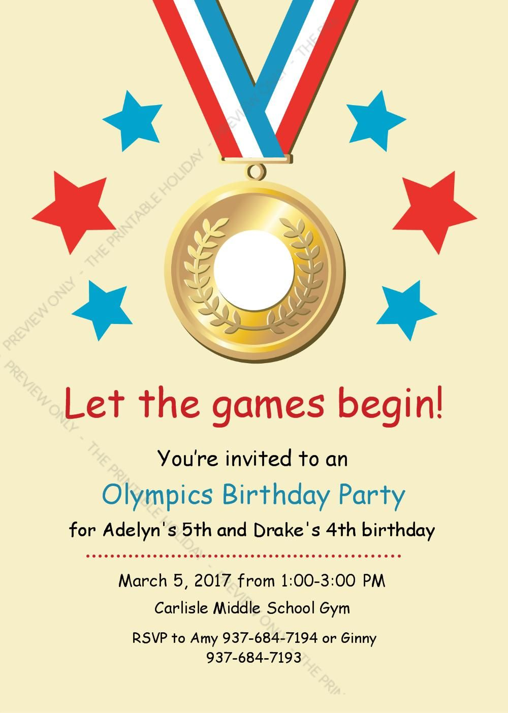 Olympic Medal Birthday Party Invitation | Adelyn\'s 5th Birthday ...