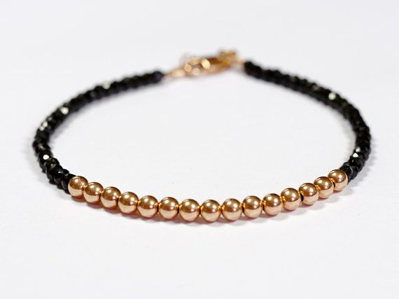 Black Spinel Solid 14k Rose Gold Ball Bead Bracelet Available in