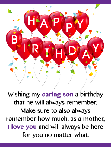 Party Balloons Happy Birthday Card For Son From Mother Birthday Greeting Cards By Davia Birthday Cards For Son Happy Birthday Wishes Cards Birthday Greeting Cards
