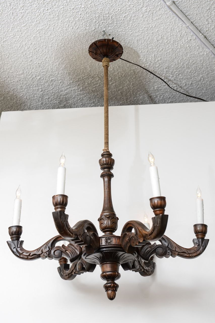 Hand Carved Beligum Wooden Chandelier Circa 1900