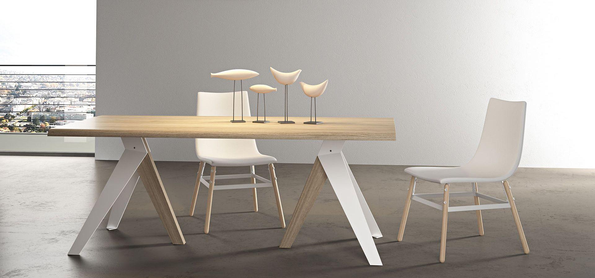 kiev tavolo fisso con struttura in metallo e legno con piano in ... - Tavolo Allungabile Legno Massello Moderno