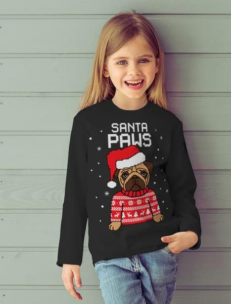 5a976ba3 Tstars tshirts Santa Paws Ugly Christmas Sweater Toddler/Kids Sweatshirt