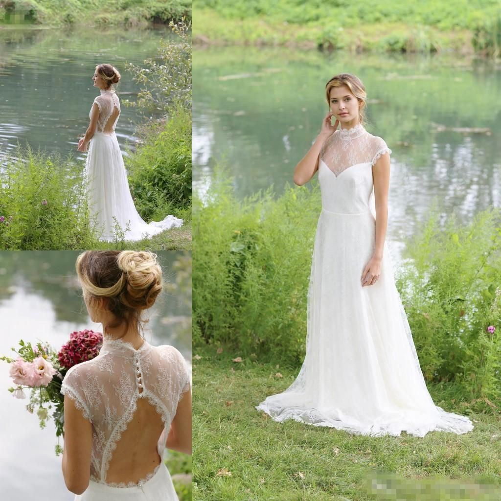 Outdoor country sexy backless wedding dresses high neck cap sleeves