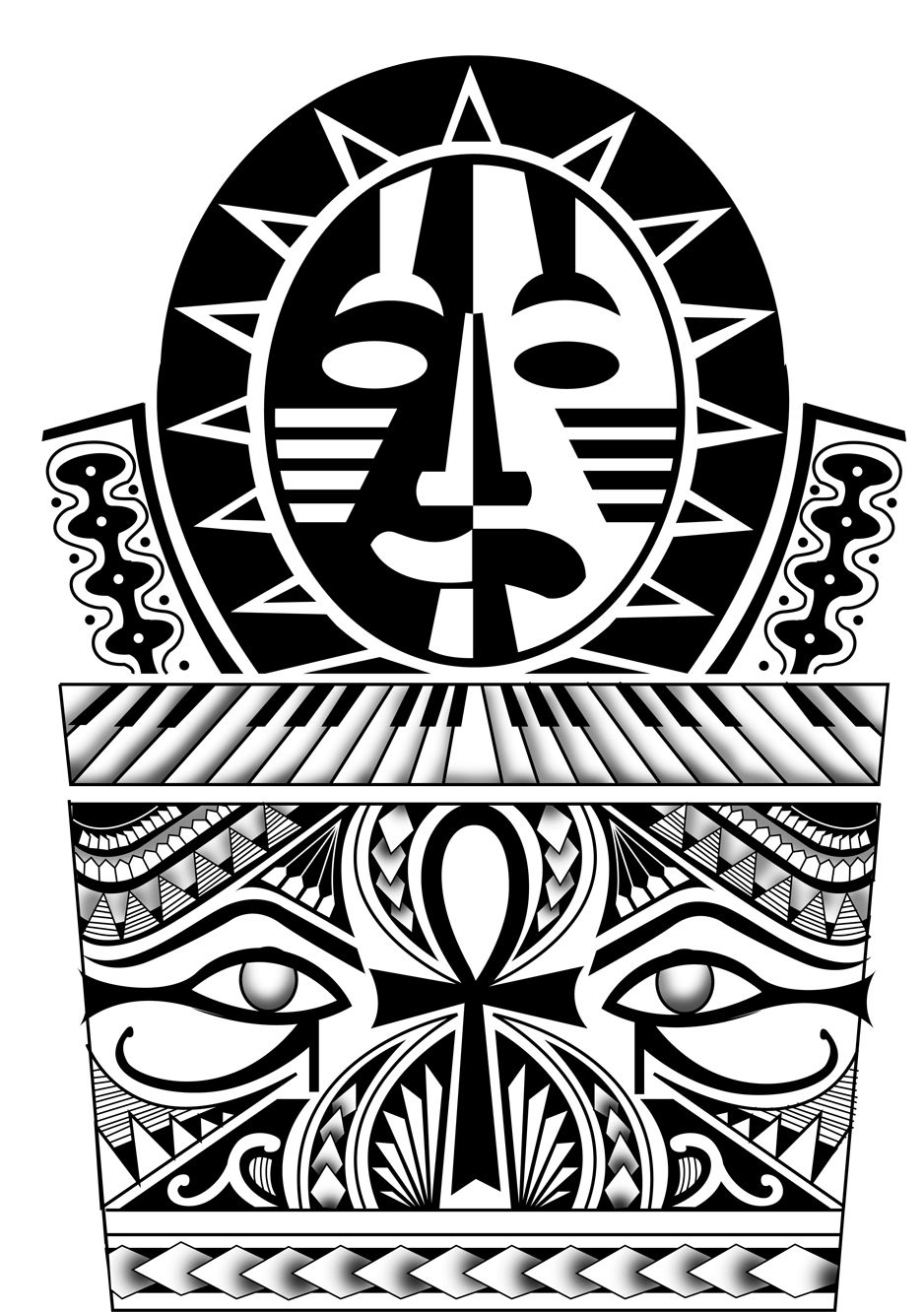 50 Polynesian Style Egyptian Tattoo Design. All rights