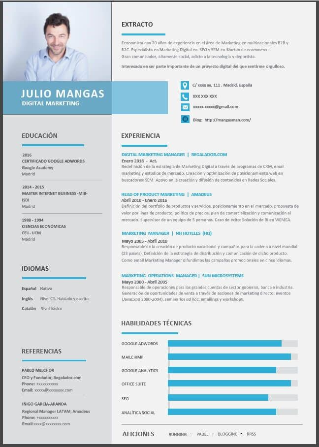 formato de cv para marketing