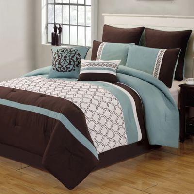 Tolbert 8 Piece Queen Comforter Set In Blue Brown Ivory Products