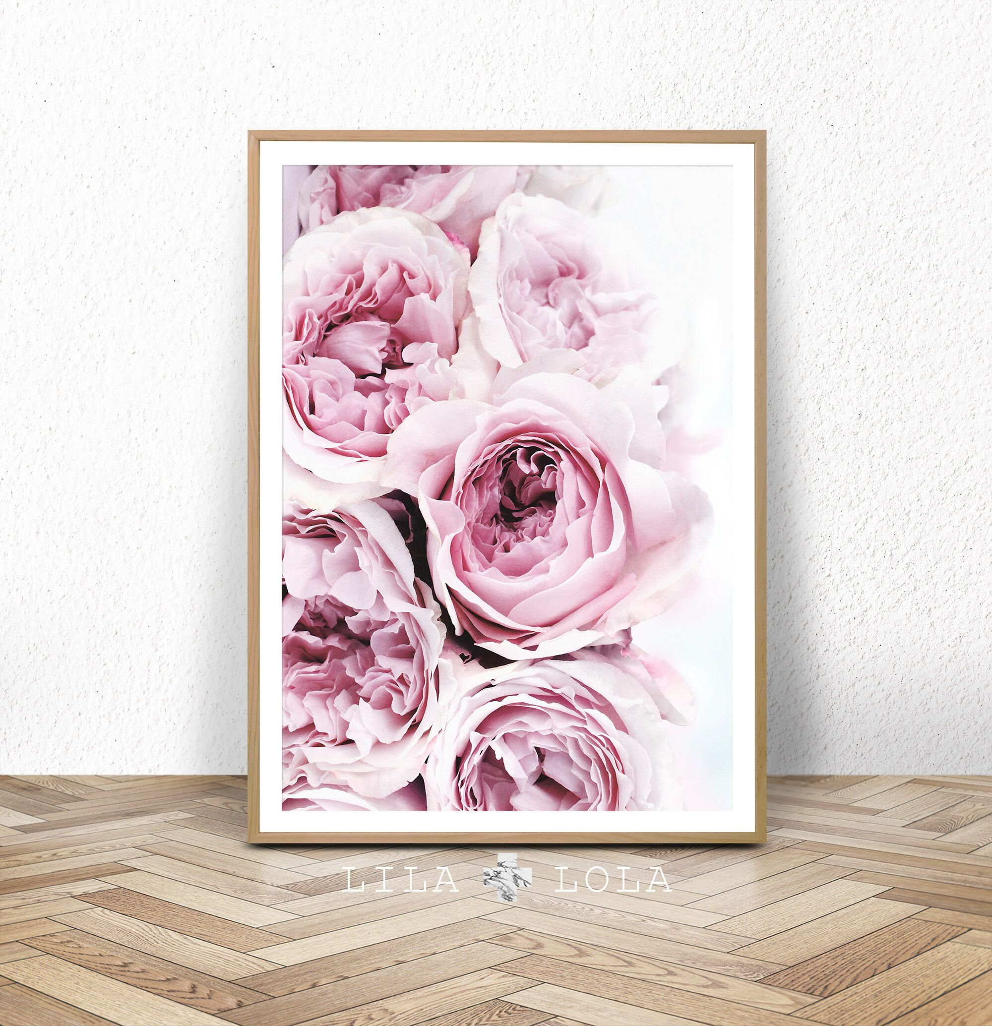 Bedroom Art Printables: Bedroom Wall Decor, Peony Art Print, Pink And Grey Floral
