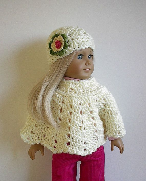 American Girl Doll Clothes Crocheted Poncho ... | Crochet for 18 ...