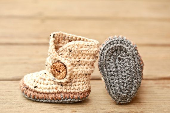 b042b023a Crochet Baby Booties - Baby Moccasins - Earthy Brown and Natural ...