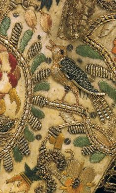 Stumpwork 17th century embroidery