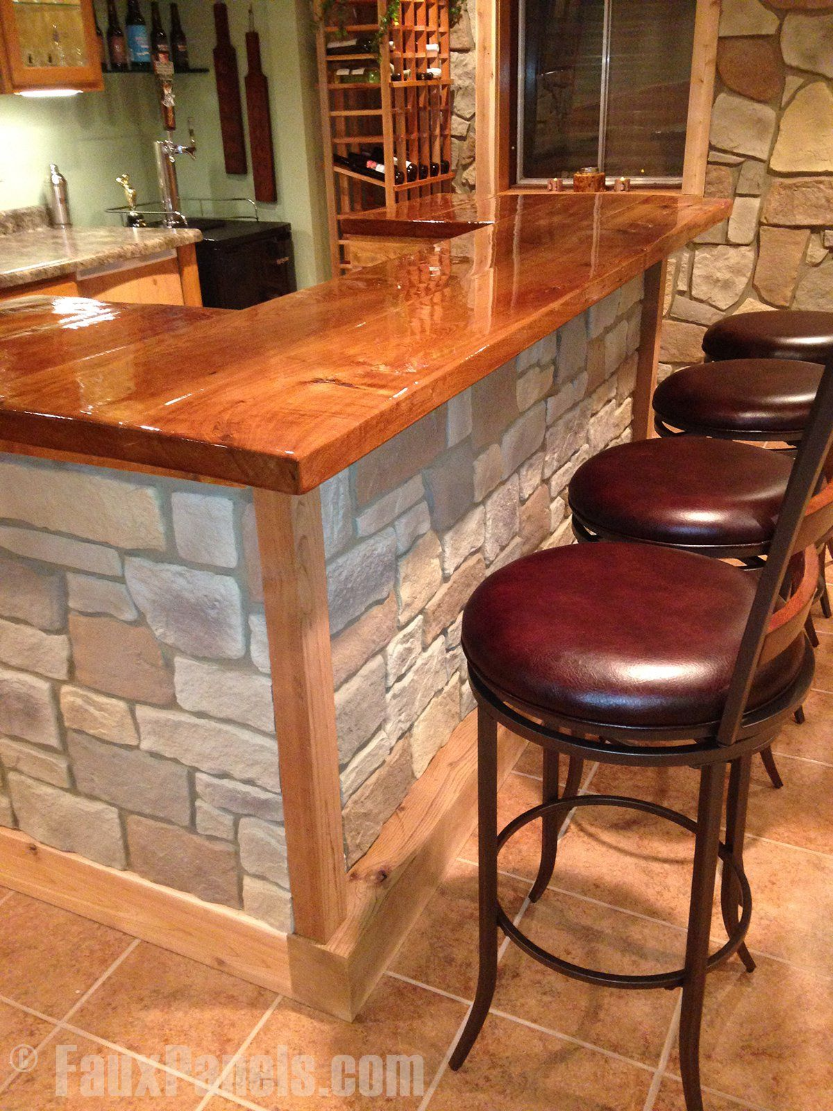 A DIY home bar is easy to build with fake stone panels. | Bar ...