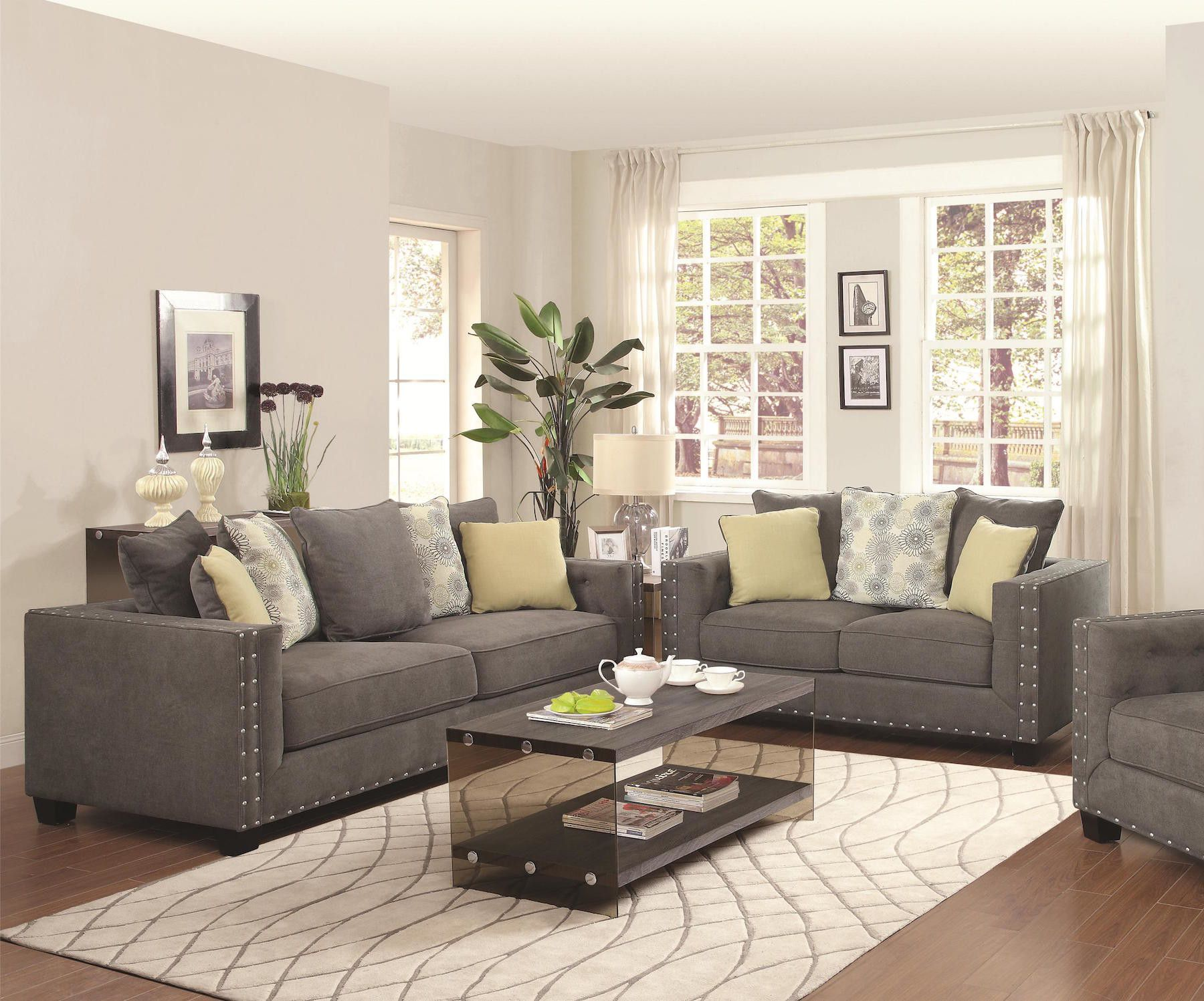 Mid century Modern Design Grey Living Room Collection 1 Sofa 1