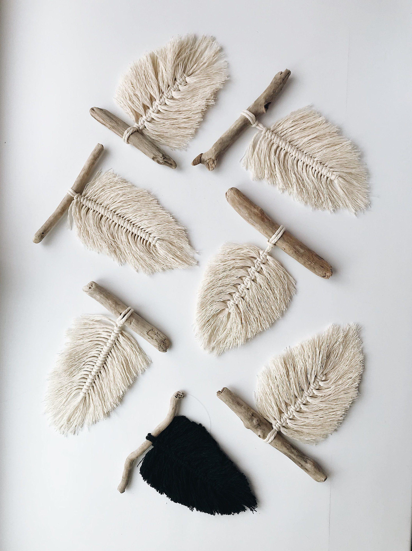 Small Macrame Wall Hanging Macrame Feather Boho Feathers