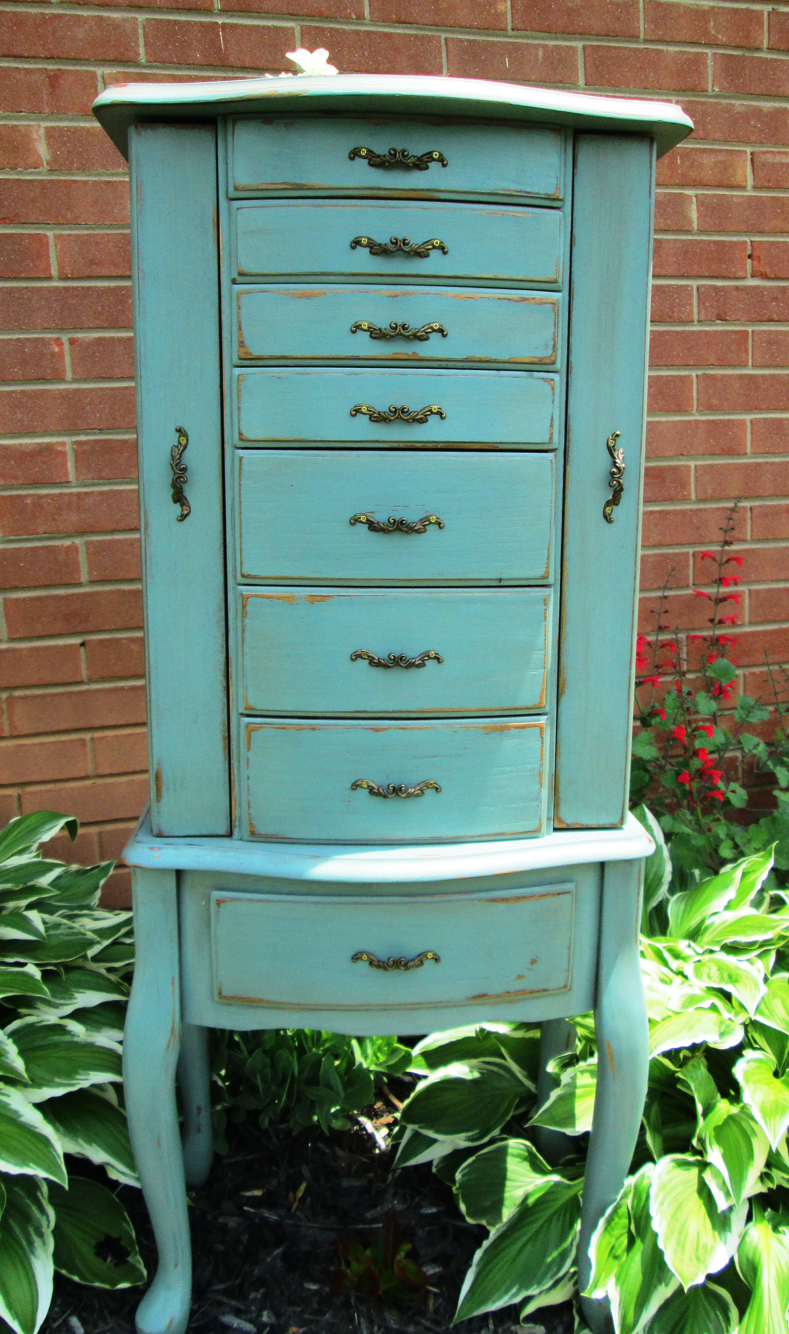 Hand Painted and distressed Jewelry Armoire in Robin egg blue 0