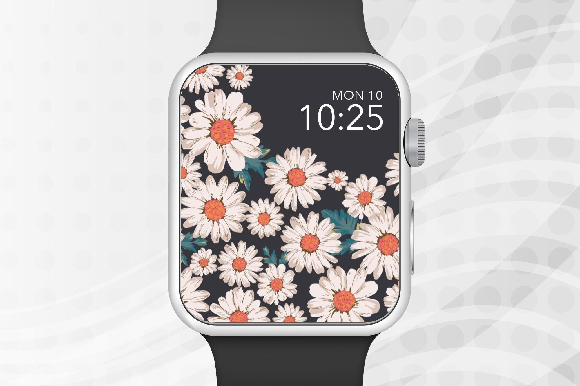 Apple Watch Wallpaper White Flowers With Colored Center Apple Watch Face Design Apple Watch Faces Watch Wallpaper Apple Watch