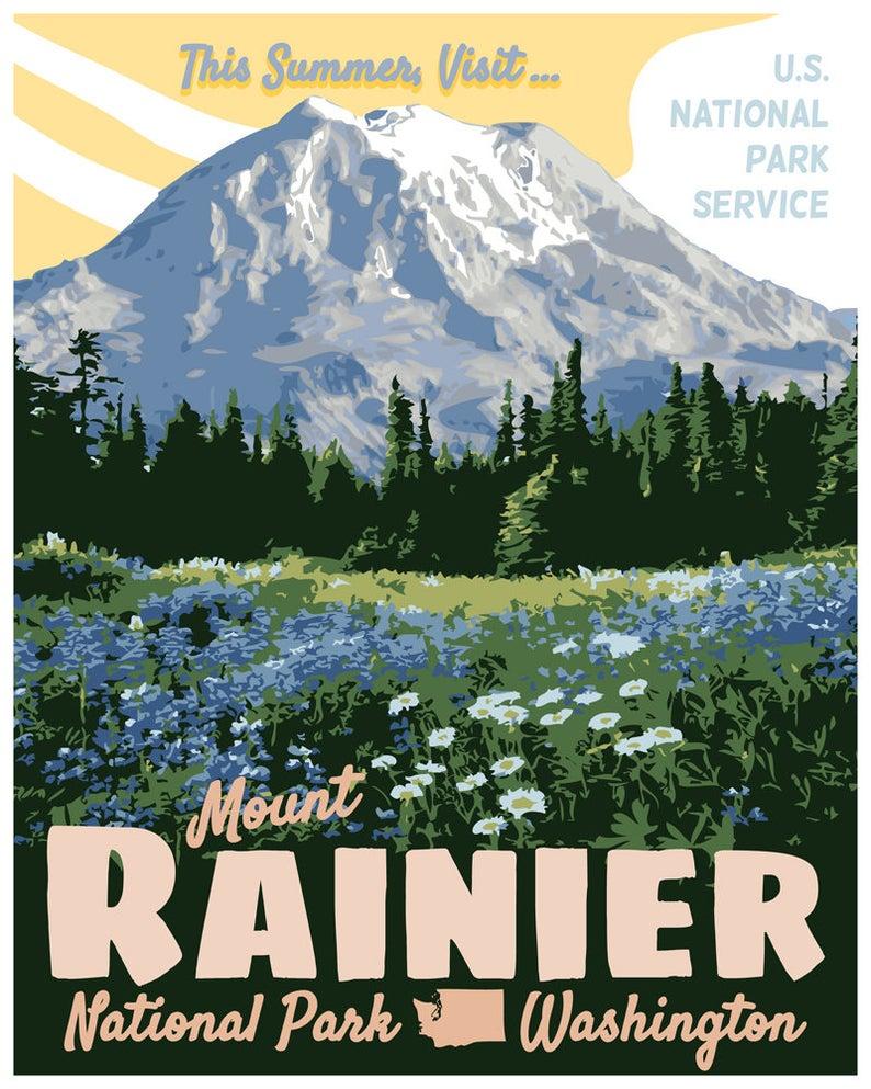 Art print POSTER Mount Rainier