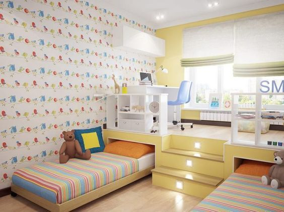 5 Stylish And Functional Shared Bedroom For Kids In 2020 Small Kids Room Kid Room Decor Kids Bedroom Furniture