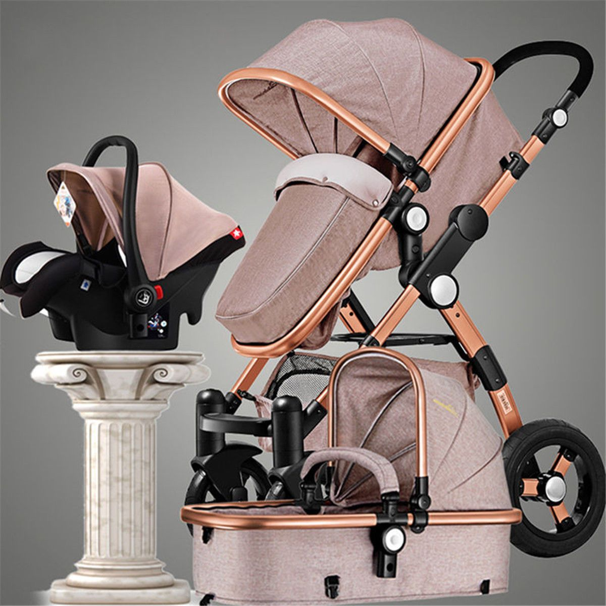 Luxury 3 in 1 Foldable Baby Stroller High View Pram