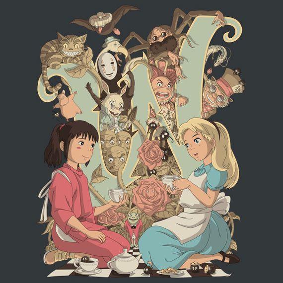 見事にマッチング 不思議の国のアリス 千と千尋の神隠し の世界が融合したイラスト Wonderlands Artist Database イラスト スタジオジブリ トトロ