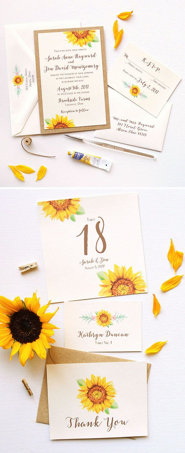 Sunflower Blooms Wedding Invtations Watercolor Sunflower
